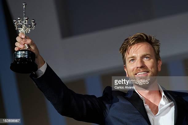 "Actor Ewan McGregor receives the ""Donosti"" Lifetime Achievement Award at the Kursaal Palace during the 60th San Sebastian International Film Festival..."