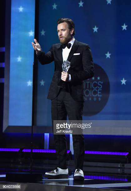 Actor Ewan McGregor speaks on stage at The 23rd Annual Critics' Choice Awards at Barker Hangar on January 11 2018 in Santa Monica California
