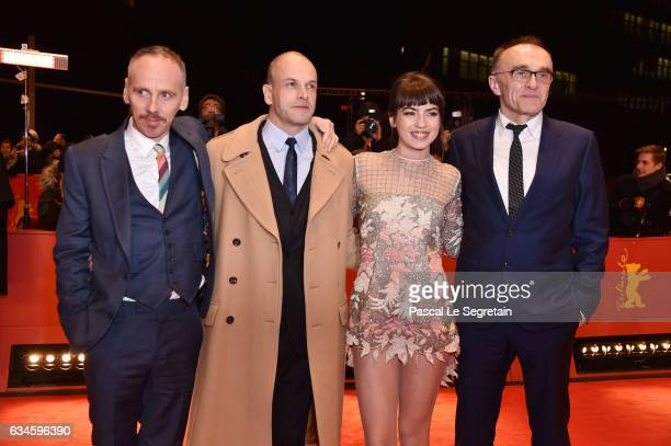 Actor Ewen Bremner actor Jonny Lee Miller actress Anjela Nedyalkova and Film director Danny Boyle attend the 'T2 Trainspotting' premiere during the...