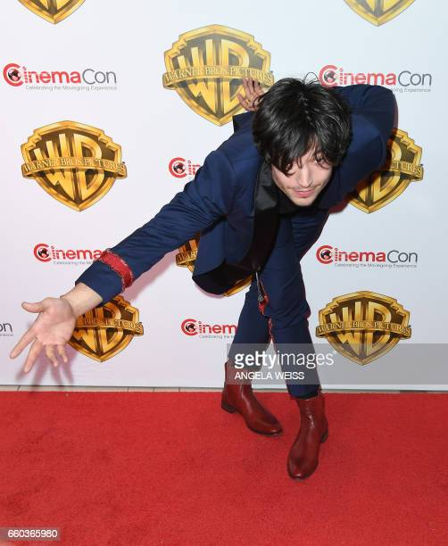 Actor Ezra Miller arrives at CinemaCon 2017 Warner Bros Pictures Invites You to The Big Picture at The Colosseum at Caesars Palace during CinemaCon...