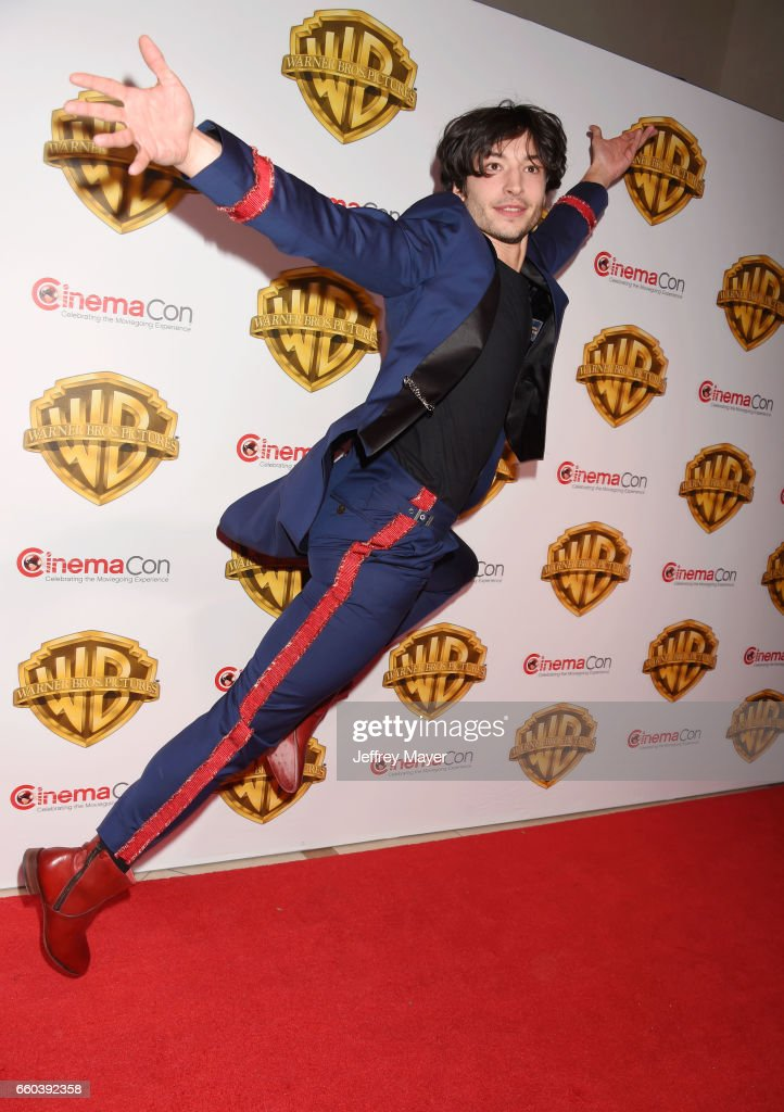 Actor Ezra Miller arrives at the CinemaCon 2017 Warner Bros. Pictures presentation of their upcoming slate of films at The Colosseum at Caesars Palace on March 29, 2017 in Las Vegas, Nevada.