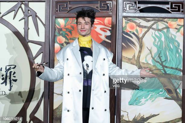 Actor Ezra Miller attends 'Fantastic Beasts The Crimes of Grindelwald' premiere at Chaoyang Museum Of Urban Planning on October 28 2018 in Beijing...