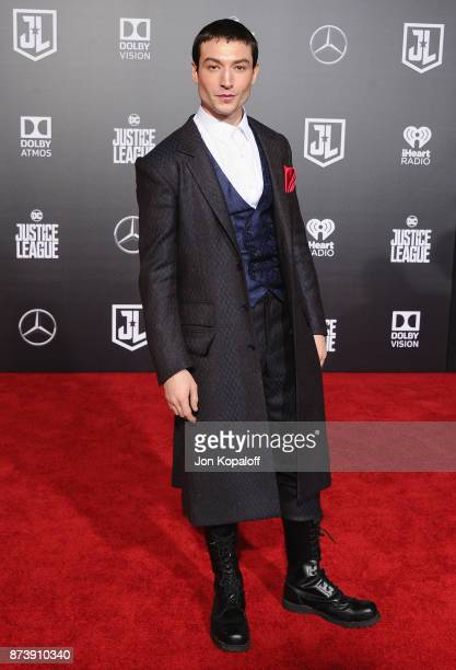 Actor Ezra Miller attends the Los Angeles Premiere of Warner Bros Pictures' Justice League at Dolby Theatre on November 13 2017 in Hollywood...