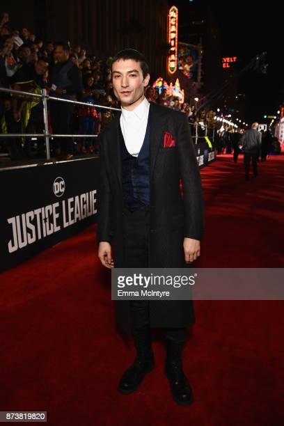 Actor Ezra Miller attends the premiere of Warner Bros Pictures' 'Justice League' at Dolby Theatre on November 13 2017 in Hollywood California