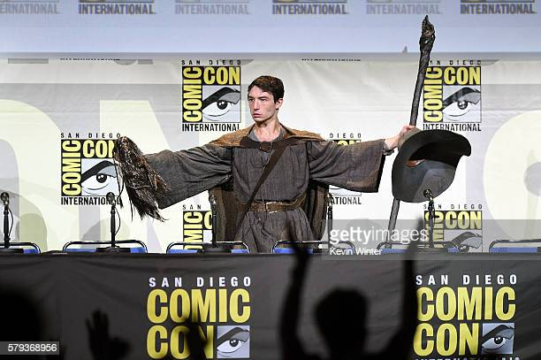 Actor Ezra Miller attends the Warner Bros 'Fantastic Beasts and Where to Find Them' Presentation during ComicCon International 2016 at San Diego...