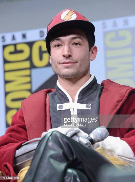 Actor Ezra Miller attends the Warner Bros Pictures Justice League Presentation during ComicCon International 2017 at San Diego Convention Center on...