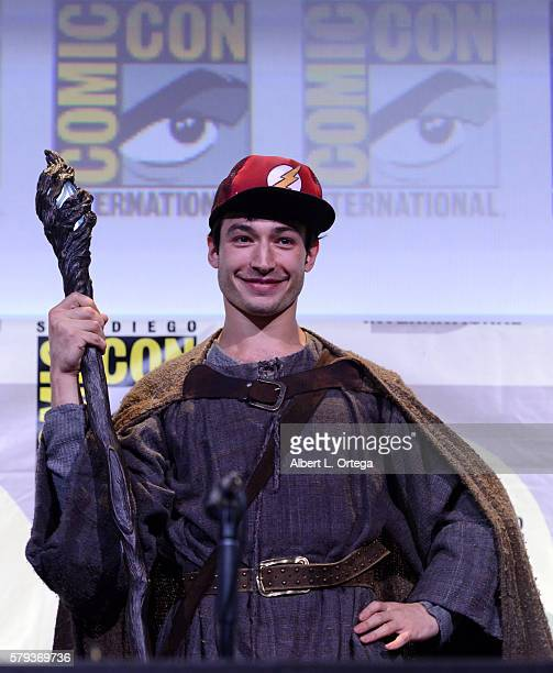 Actor Ezra Miller attends the Warner Bros Presentation during ComicCon International 2016 at San Diego Convention Center on July 23 2016 in San Diego...