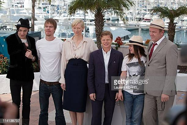 Actor Ezra Miller writer Rory Stewart Kinnear actress Tilda Swinton producer Luc Roeg director Lynne Ramsay and actor John C Reilly attend the 'We...