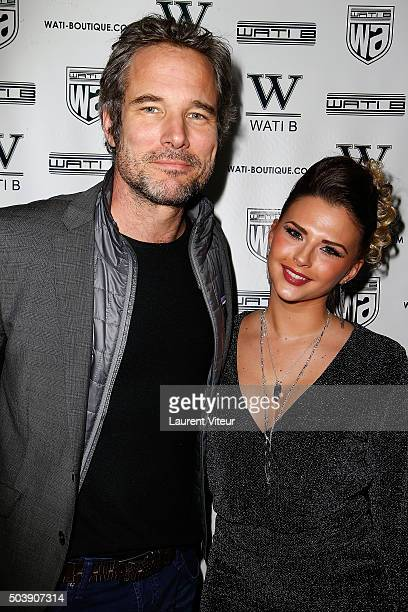 Actor Fabrice Deville and Kelly Vedovelli attend the Launch of Kelly Vedoveli's blog at Bridge Club on January 7 2016 in Paris France