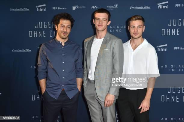 Actor Fahri Yardim Jannis Niewoehner and Jannik Schuemann during the 'Jugend ohne Gott' premiere at Mathaeser Filmpalast on August 21 2017 in Munich...