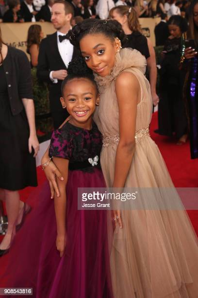 Actor Faithe Herman and Eris Baker attend the 24th Annual Screen Actors Guild Awards at The Shrine Auditorium on January 21 2018 in Los Angeles...