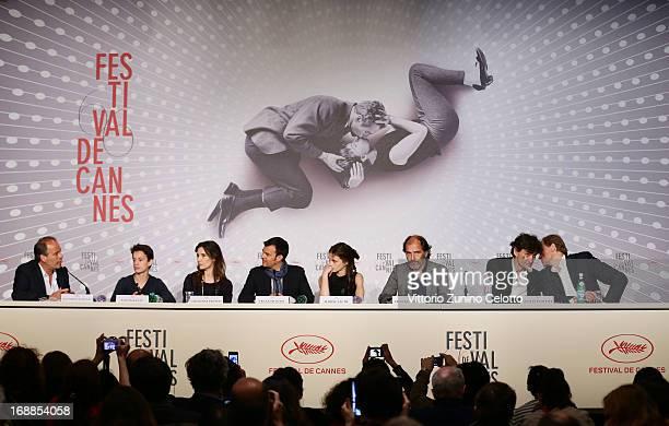 Actor Fantin Ravat actress Geraldine Pailha director Francois Ozon actress Marine Vacth and actor Frederic Pierrot attends the 'Jeune Jolie' Press...