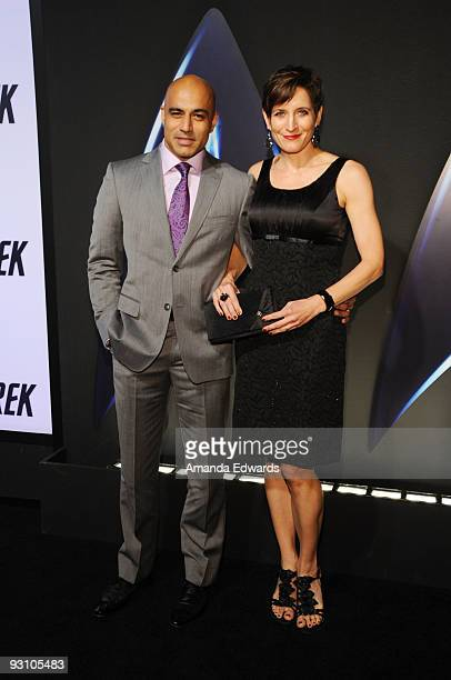 Actor Faran Tahir and his actress Marie arrive at the Star Trek DVD and BluRay release party at the Griffith Observatory on November 16 2009 in Los...