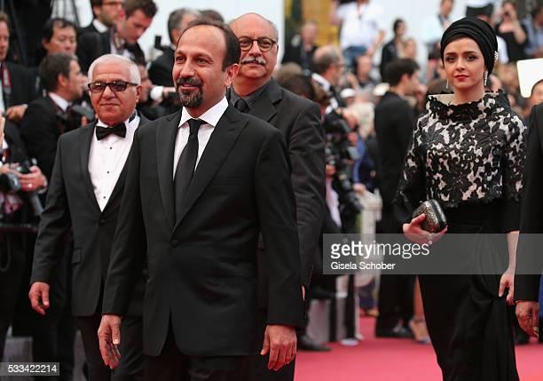 Actor Farid Sajjadihosseini director Ashgar Farhadi and actress Taraneh Alidoosti attend the closing ceremony of the 69th annual Cannes Film Festival...