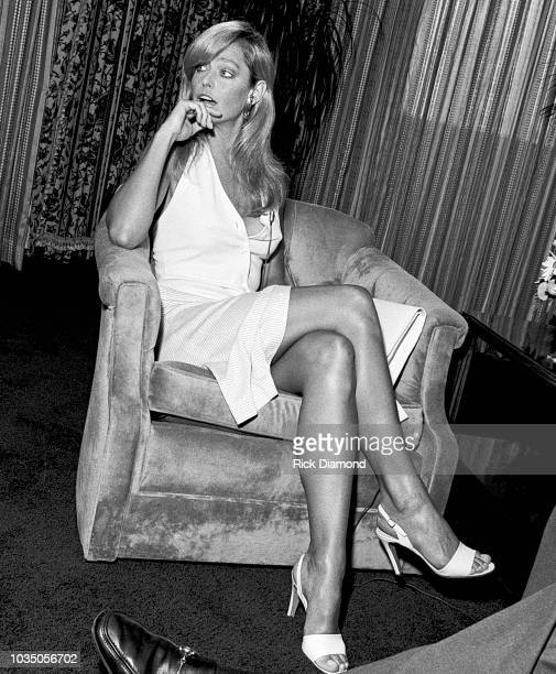 Actor Farrah Fawcett Majors interviews with press during promotion tour for her new film Sunburn at Hyatt Regency on August 2 1979 in Atlanta Georgia