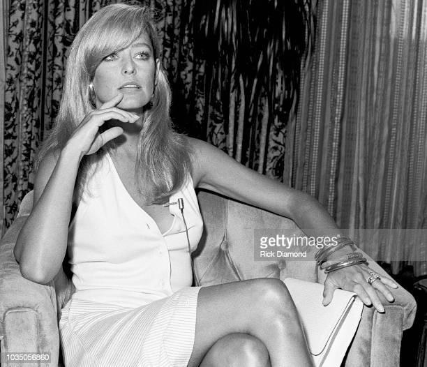 Actor Farrah Fawcett Majors interviews with press during promotion tour for her new film Sunburn at Hyatt Regency on August 2, 1979 in Atlanta...