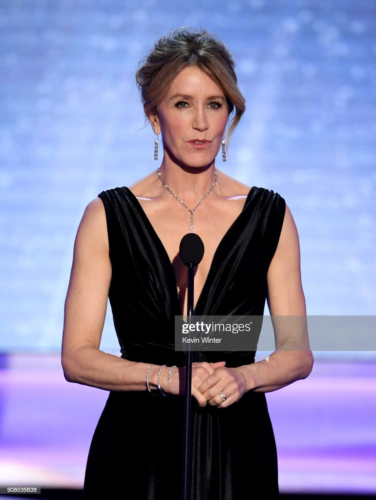 Actor Felicity Huffman speaks onstage during the 24th Annual Screen Actors Guild Awards at The Shrine Auditorium on January 21, 2018 in Los Angeles, California. 27522_013