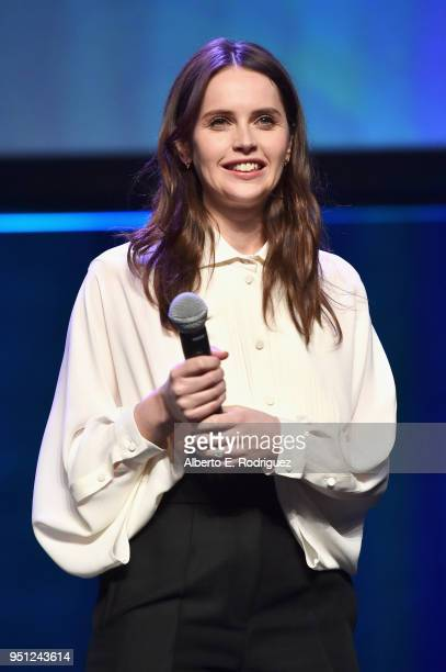 Actor Felicity Jones speaks onstage during the CinemaCon 2018 Focus Features Presentation at Caesars Palace during CinemaCon the official convention...