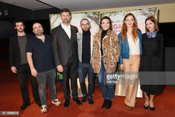 Actor Felix Moati director Antony Cordier Johan Heldenbergh Guillaume Gouix actresses Elodie Bouchez Laetitia Dosch and Noemie Alazard attend the...