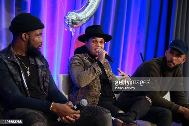 Actor Femi Lawson music executive Kiana Rookz Eastmond and photographer Jamal Burger attend the 5th Annual Black Arts and Innovation Expo at...