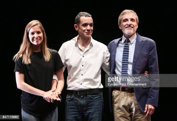 Actor Fernando Guillen Cuervo actress Natalia Sanchez and director Luis Luque attend the presentation of Oleanna in the Arts Theater on September 5...