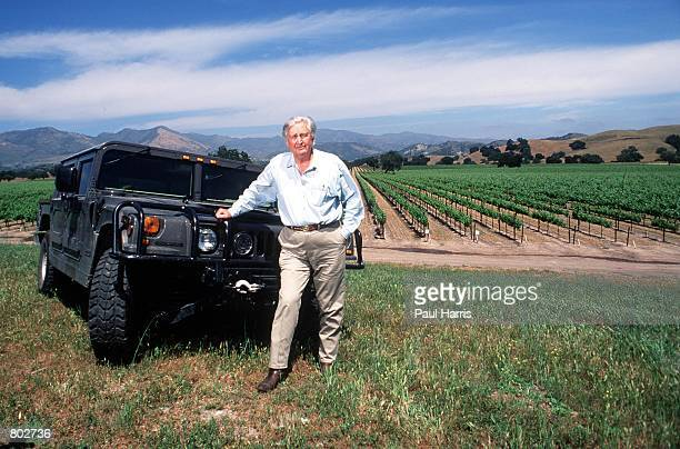 """Actor Fess Parker who starred in Disney's """"Davy Crockett"""" series in the 1950's stands by his hummer near his home May 25, 2000 in Los Olivos, CA."""