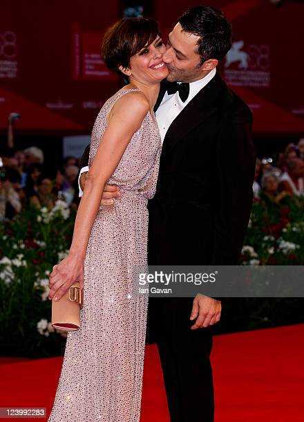 Actor Filippo Timi and Actress Claudia Pandolfi attend the Quando La Notte premiere during the 68th Venice Film Festival at Palazzo del Cinema on...