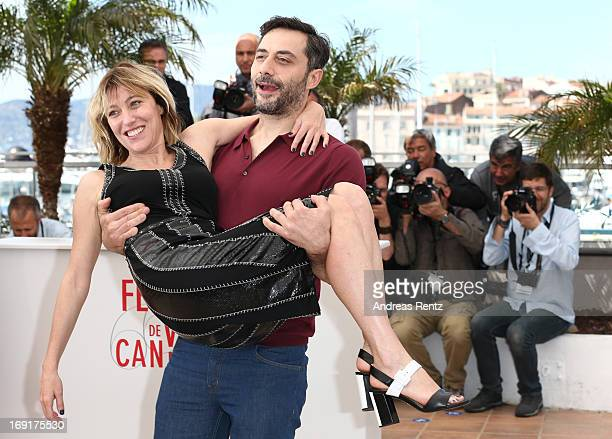 Actor Filippo Timi and director Valeria Bruni Tedeschi attend the 'Un Chateau En Italie' Photocall during The 66th Annual Cannes Film Festival at the...