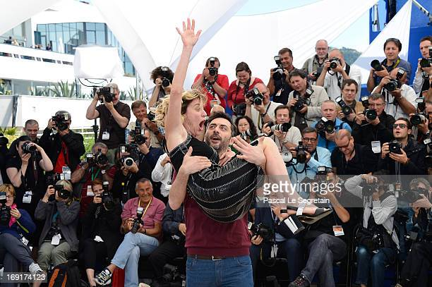 Actor Filippo Timi and director Valeria Bruni Tedeschil attend the 'Un Chateau En Italie' Photocall during The 66th Annual Cannes Film Festival at...