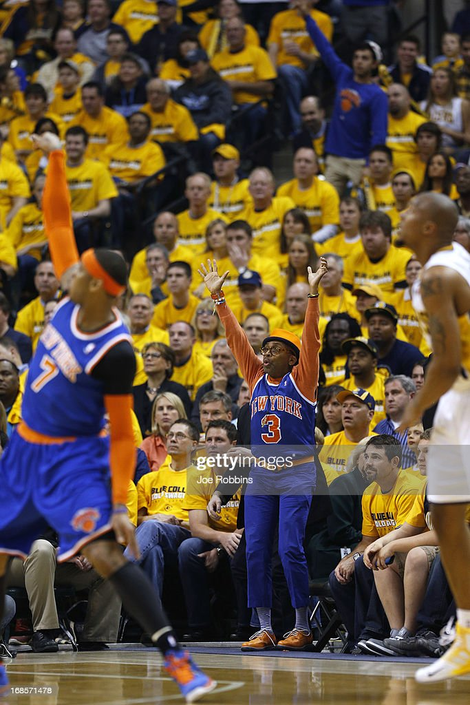 Actor, film director and New York Knicks fan Spike Lee cheers against the Indiana Pacers during game three of the Eastern Conference Semifinals of the 2013 NBA Playoffs at Bankers Life Fieldhouse on May 11, 2013 in Indianapolis, Indiana.