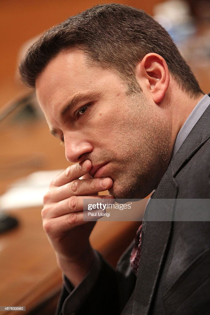 Actor, filmmaker and founder of the Eastern Congo Initiative Ben Affleck listens to testimony during a Senate Appropriations State, Foreign Operations, and Related Programs Subcommittee hearing on 'Diplomacy, Development, and National Security' on Capitol Hill in Washington March 26, 2015.