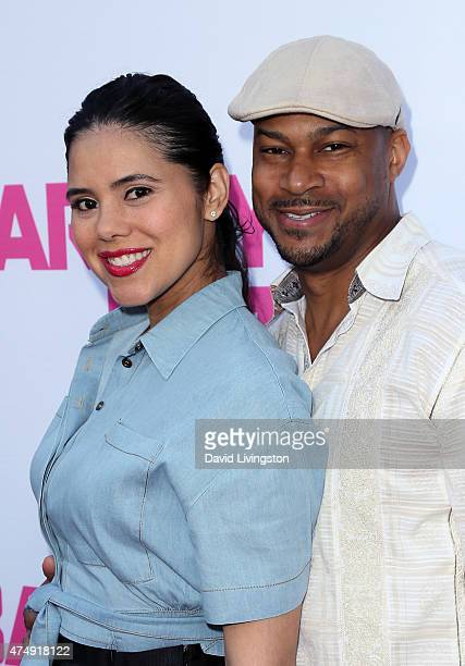 Actor Finesse Mitchell and wife Adris DeBarge attend the premiere of DirecTV's 'Barely Lethal' at ArcLight Hollywood on May 27 2015 in Hollywood...