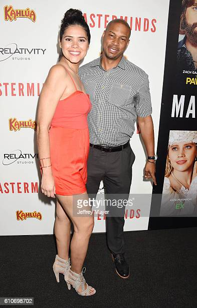 Actor Finesse Mitchell and wife Andriette Adris DeBarge attend the premiere of Relativity Media's 'Masterminds' held at TCL Chinese Theatre on...