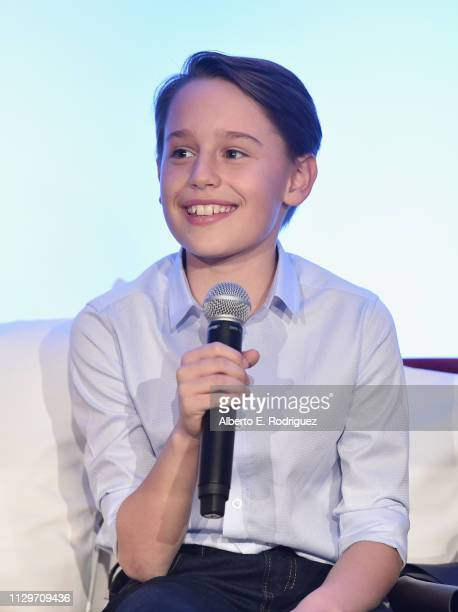 Actor Finley Hobbins speaks onstage during the 'Dumbo' Global Press Conference at The Beverly Hilton Hotel on March 10 2019 in Los Angeles California