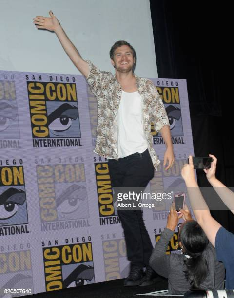Actor Finn Jones walks onstage at Netflix's The Defenders panel during ComicCon International 2017 at San Diego Convention Center on July 21 2017 in...