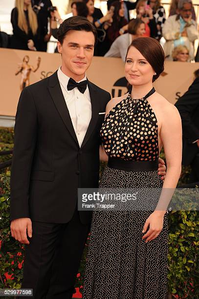 Actor Finn Whittrock and wife Sarah Roberts arrive at the 22nd Annual Screen Actors Guild Awards held at The Shrine Auditorium