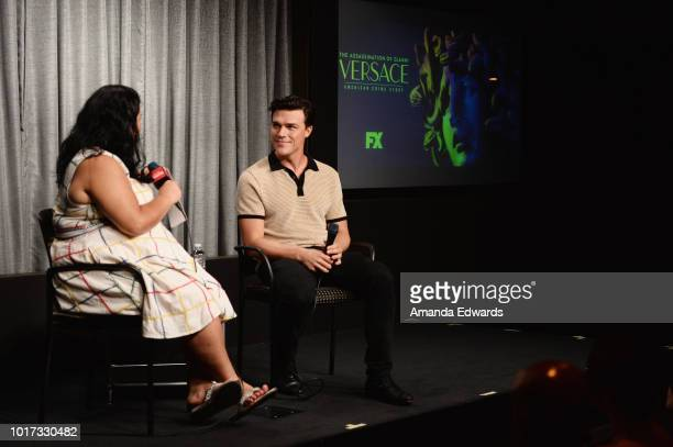 Actor Finn Wittrock and moderator Jenelle Riley attend the SAGAFTRA Foundation Conversations Screening of 'The Assassination Of Gianni Versace...