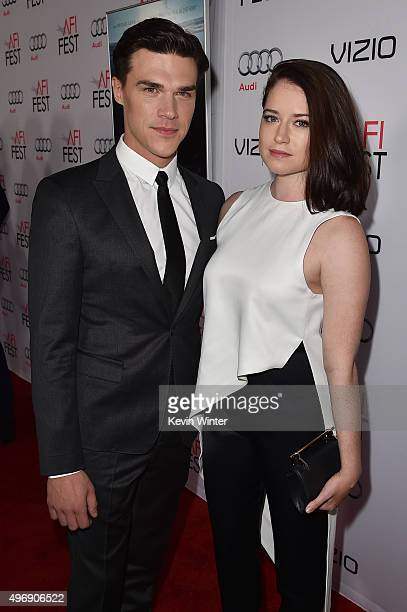 """Actor Finn Wittrock and Sarah Roberts attend the closing night gala premiere of Paramount Pictures' """"The Big Short"""" during AFI FEST 2015 at TCL..."""