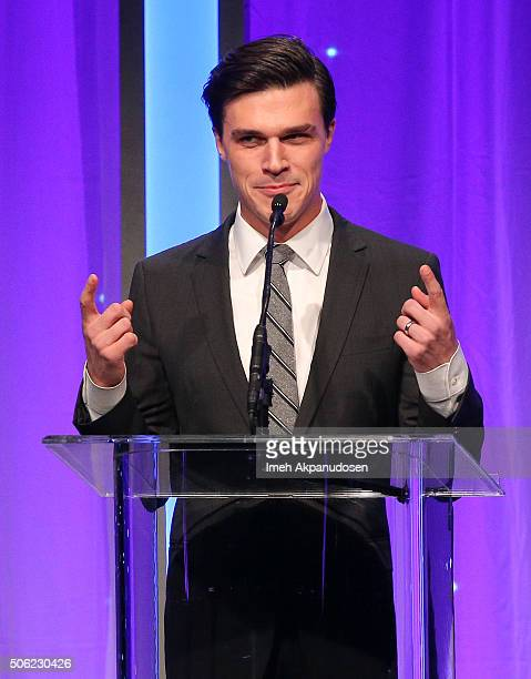 Actor Finn Wittrock speaks onstage during the Casting Society Of America's 31st Annual Artios Awards at The Beverly Hilton Hotel on January 21 2016...