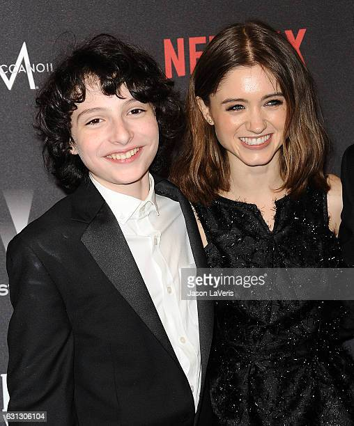 Actor Finn Wolfhard and actress Natalia Dyer attend the 2017 Weinstein Company and Netflix Golden Globes after party on January 8 2017 in Los Angeles...