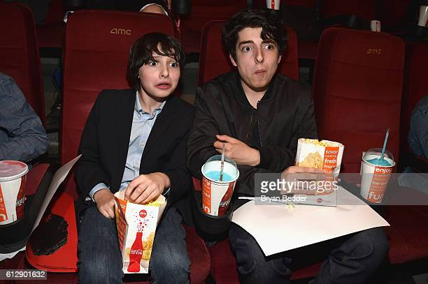 Actor Finn Wolfhard and Nick Wolfhard attend the 'Shin Godzilla' premiere presented by Funimation Films at AMC Empire 25n2016 New York Comic Con on...