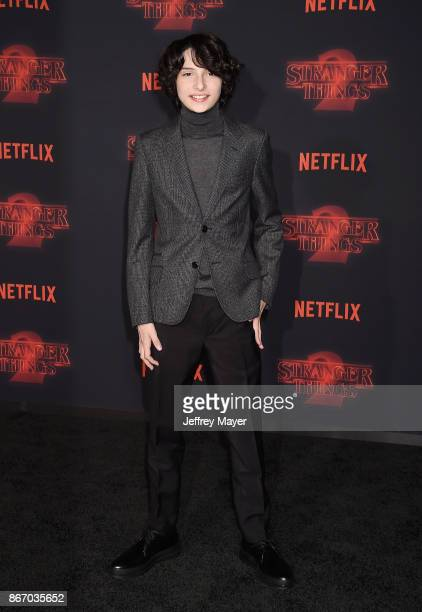 Actor Finn Wolfhard arrives at the Premiere Of Netflix's 'Stranger Things' Season 2 at Regency Westwood Village Theatre on October 26 2017 in Los...