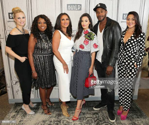 Actor Fiona Gubelmann series creator Star Jones actors Vanessa Williams Chloe Bridges McKinley Freeman and Camille Guaty attend Build Presents...