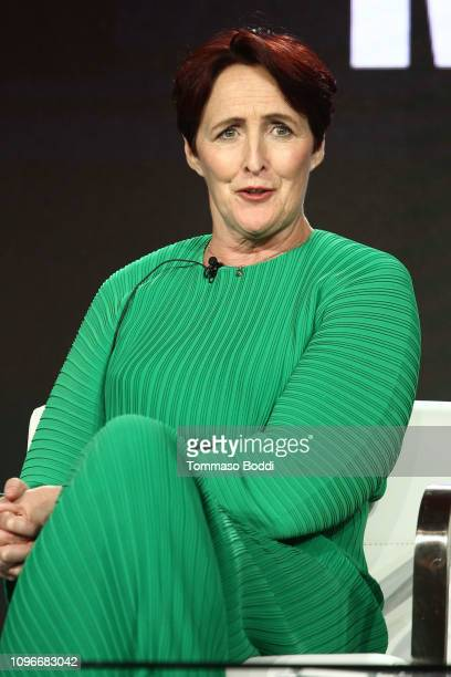 Actor Fiona Shaw speaks onstage during the Killing Eve panel during the BBC America/AMC portion of the 2019 Winter TCA on February 9 2019 in Pasadena...