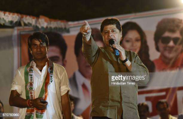 Actor Firoz Khan best known for playing the mythological hero character of Arjun in Mahabharata addressing a rally in the support of Congress...