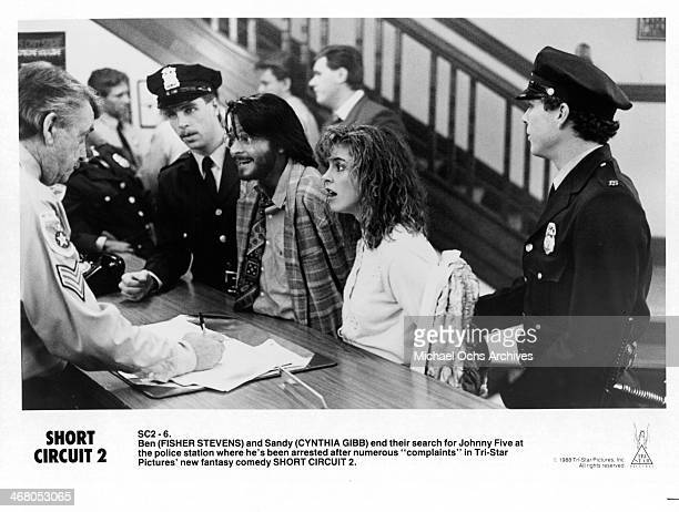 Actor Fisher Stevens and actress Cynthia Gibb poses for the movie Short Circuit 2 circa 1988