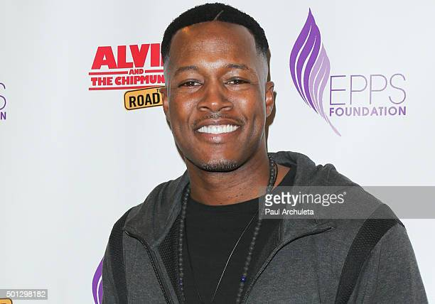 Actor Flex Alexander attends the celebrity family Sunday funday toy drive and screening of Alvin And The Chipmunks The Road Chip at AMC Century City...