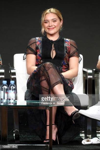Actor Florence Pugh of 'The Little Drummer Girl' speaks onstage during the AMC Networks portion of the Summer 2018 TCA Press Tour at The Beverly...