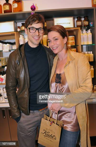Actor Florian David Fitz and actress Aglaia Szyszkowitz attend the Kiehl's Store Opening on November 24 2010 in Munich Germany