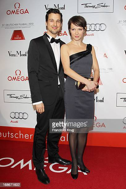 Actor Florian David Fitz and actress Julia Koschitz at 37th German Filmball at Hotel Bayerischer Hof in Munich on 160110